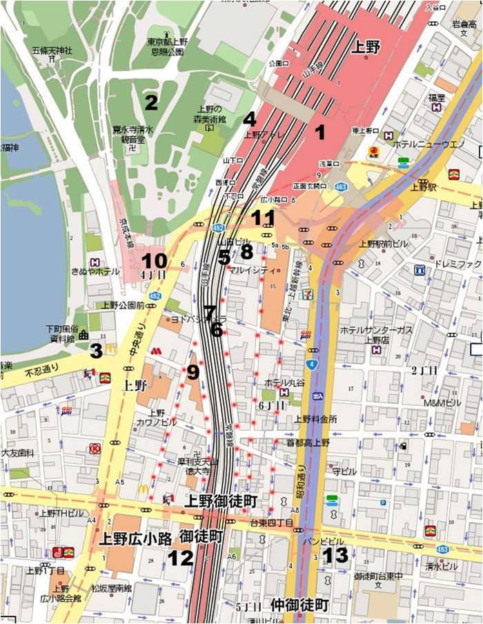 Ueno eating map