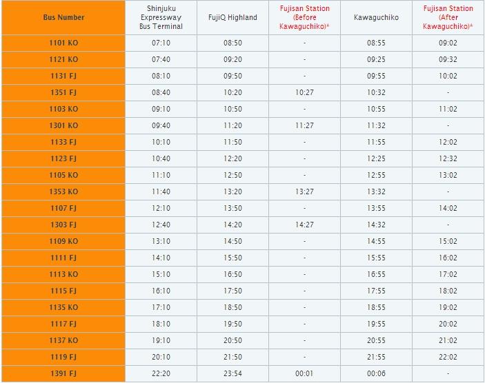 keio bus timetable